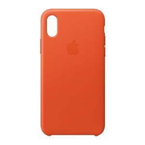 iPhone X Leather Case - Bright Orange