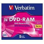 DVD-ram Media 4.7GB 3x 5-pk Jewel Case