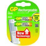 GP Battery Rechargeable Aaa Micro Nimh 650mah 1.2v 2bat/1pk